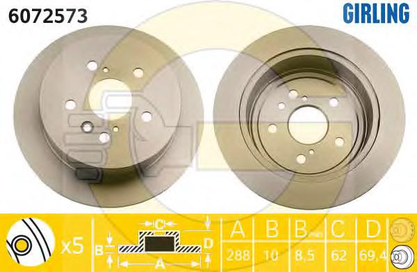 6072573 Диск тормозной LEXUS RX300/RX330/RX350/RX400H задний