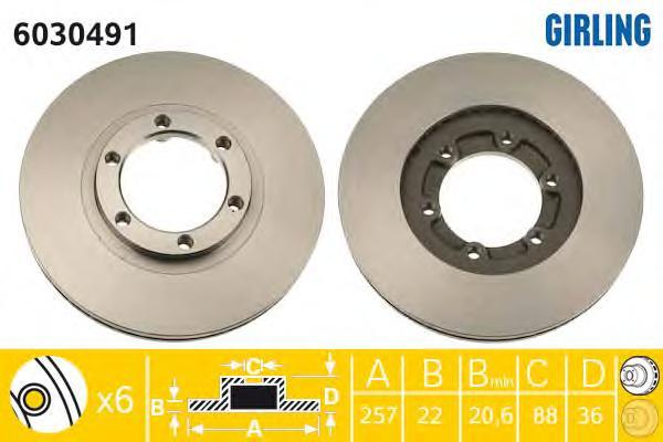 6030491 Диск тормозной OPEL FRONTERA 92-98/ISUZU TROOPER 84-91 передний вент.