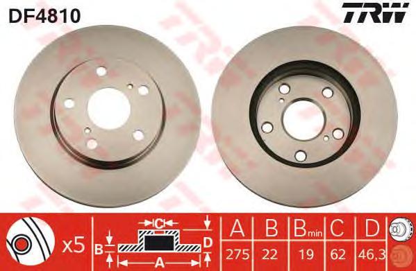 DF4810 Диск тормозной TOYOTA AURIS (Японская сборка) 1.4/1.6 07- передние вент.