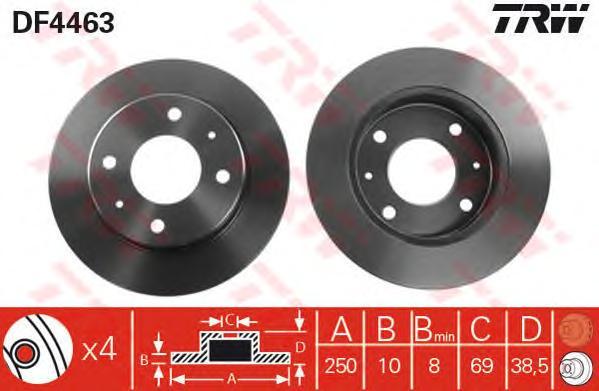 DF4463 Диск тормозной задн MITSUBISHI: COLT CZC кабрио 06-, COLT VI 04-