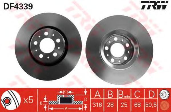 DF4339 Диск тормозной VOLVO XC90 02 R16 передний вент. D=316мм