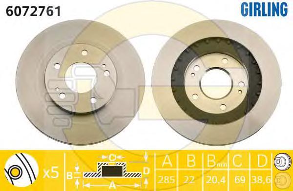 6072761 Диск тормозной MITSUBISHI PAJERO PININ 99- передний вент.D=285мм.