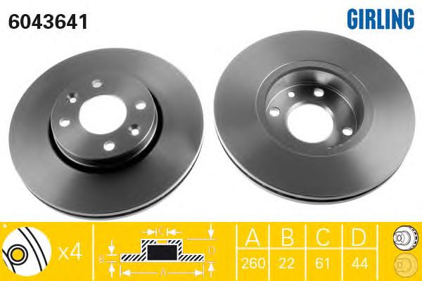 6043641 Диск тормозной NISSAN MICRA 03-/NOTE 06-/RENAULT MEGANE 03-/CLIO 05- перед.вент.