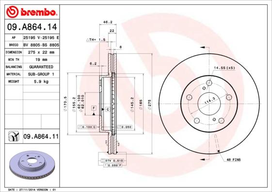 09A86414 Диск тормозной TOYOTA AURIS (Японская сборка) 1.4/1.6 07- передний вент.