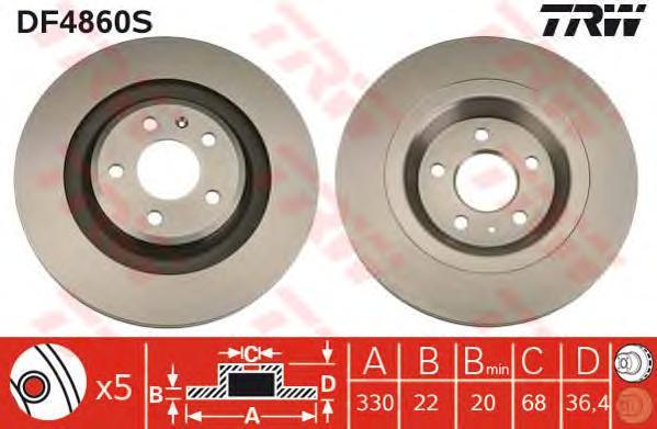 DF4860S Диск тормозной AUDI A4/A5/Q5 задний вент.D=330мм.