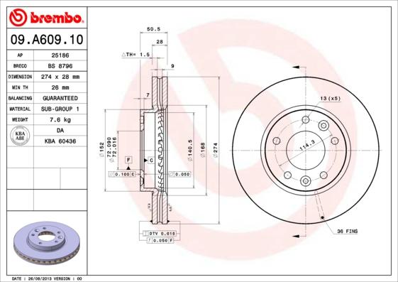 09A60910 Диск тормозной KIA CARNIVAL 03- передний вент.D=274мм.