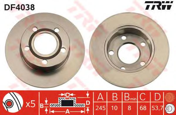 DF4038 Диск тормозной AUDI A6 qattro 1.8-4.2 97-05 задний D=245мм.