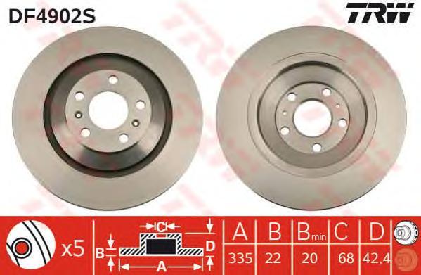 DF4902S Диск тормозной AUDI A8 2.8-6.0 02-10/VW PHAETON 3.0-6.0 02- передний