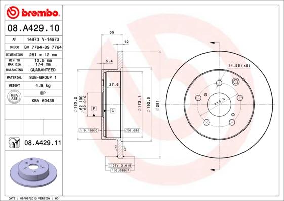 08A42910 Диск тормозной TOYOTA RAV 4 III 06- задний D=281мм.