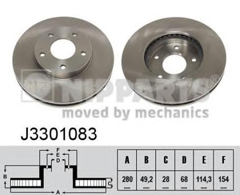 J3301083 Диск тормозной NISSAN X-TRAIL (T30)/MAXIMA QX (A33)/PRIMERA (P12) передний вент.