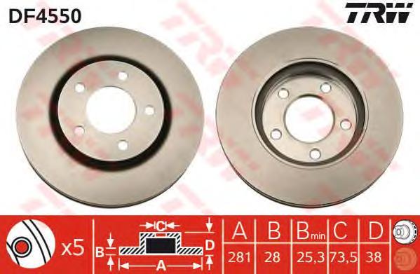 DF4550 Диск тормозной CHRYSLER VOYAGER/DODGE CARAVAN 00- передний D=281мм.
