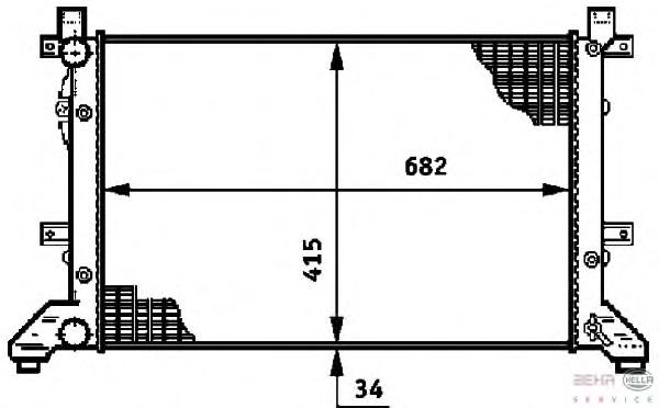 8MK376719701 Радиатор системы охлаждения VW: LT 28-35 II автобус (2DM) 2.3/2.5 TDI 96-, LT 28-46 II c бортовой платформой/ходова