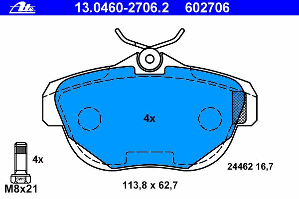 13046027062 Колодки тормозные дисковые задн, CITROEN: C6 2.2 HDi/2.7 HDi/3.0 HDi/3.0 V6 05-