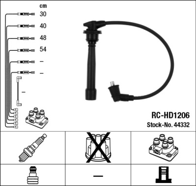 44332 Провода в/в HYUNDAI ACCENT/GETZ/MATRIX/VERNA 1.5/1.6 DOHC