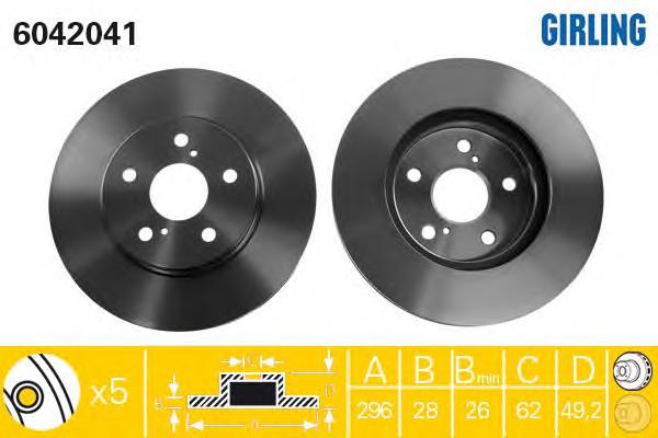 6042041 Диск тормозной TOYOTA CAMRY (V30) 2.4/3.0 01-06 передний вент.