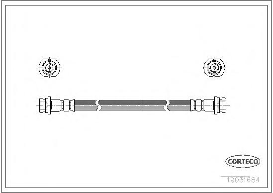 19031684 Шланг тормозной CHEVROLET: MATIZ 1.0 05-  DAEWOO: MATIZ 0.8/1.0 98-, NUBIRA седан 2.0 16V 97-