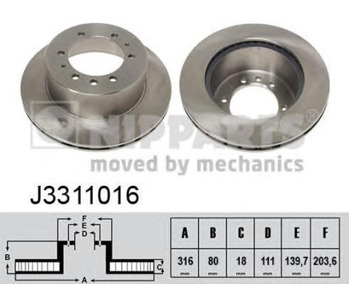 J3311016 Диск тормозной NISSAN PATROL 88-10 задний вент.D=316мм.