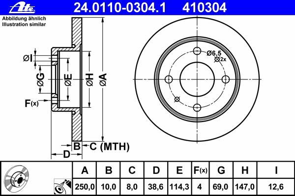 24011003041 Диск тормозной задн, MITSUBISHI: COLT CZC кабрио 1.5/1.5 Turbo 06-09, COLT PLUS VII 1.3/1.5 04-, COLT VI 1.1/1.1 Bif