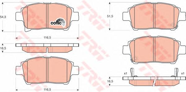 GDB3317 Колодки тормозные TOYOTA COROLLA/PRIUS/YARIS 1.0-1.6 99- передние