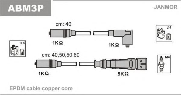 ABM3P Комплект проводов зажигания AUDI: 80 78-86, 80 86-91, 80 91-94, 80 AVANT 92-96, CABRIOLET 93-98, COUPE 86-88, COUPE 89-96