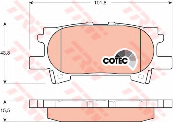 GDB3339 Колодки тормозные LEXUS RX300/RX330/RX350 0308/RX400H 0509 задние