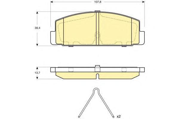 6133119 Колодки тормозные MAZDA 6 02/323 96/626 9202 (с установ.пруж.) задние