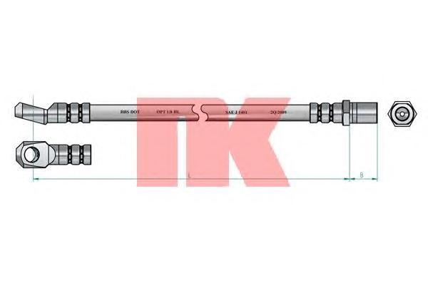 853322 Шланг тормозной MERCEDES 100 88-96 370мм передний
