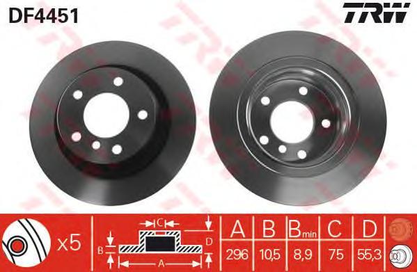 DF4451 Диск тормозной BMW 1 E81/E87/3 E90 1.6-2.0 04- задний D=296мм.