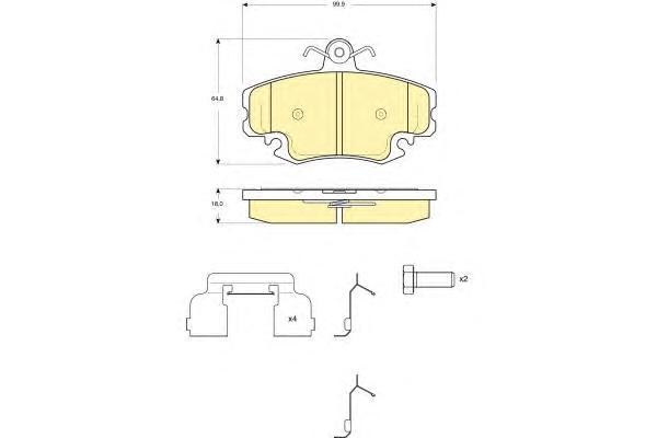 6116341 Колодки тормозные RENAULT LOGAN 04-/SANDERO 08-/CLIO 91- передние без датчика