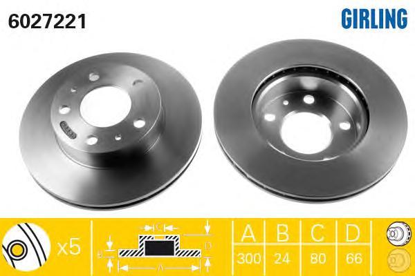 6027221 Диск тормозной CITROEN JUMPER/FIAT DUCATO/PEUGEOT BOXER 94-передний вент.D=300мм
