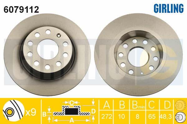 6079112 Диск тормозной AUDI A3/SKODA OCTAVIA/YETI/VW GOLF VI/JETTA задний D=272мм.