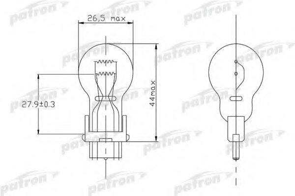PLP277W Лампа накаливания (10шт в упаковке) P27/7W 12V 27/7W W2,5x16q (3157) USA