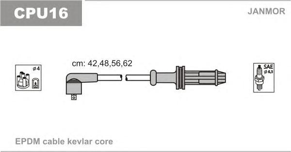 CPU16 Комплект проводов зажигания CITROEN: AX 86-98, PEUGEOT: 106 I 91-96, 106 II 97-, 306 94-01, 306 BREAK 97-00, 306 ХЕЧБЭК 93