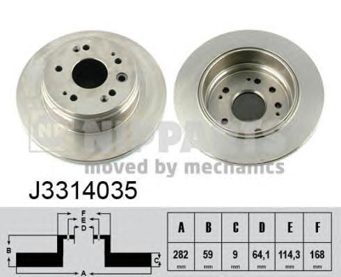 J3314035 Диск тормозной HONDA CR-V II 02-06 задний D=292мм.