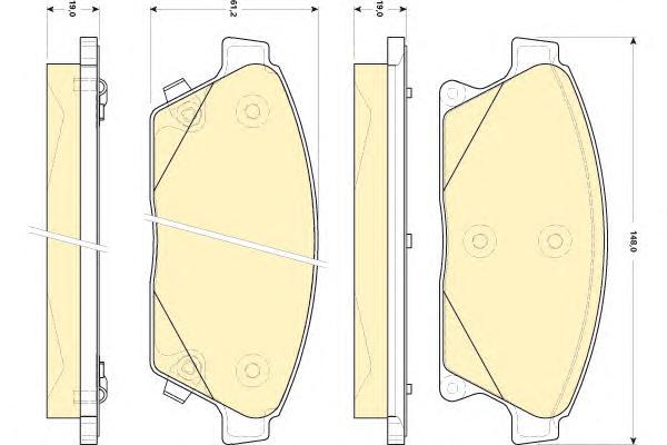 """6118479 Колодки тормозные CHEVROLET CRUZE/OPEL ASTRA J 16"""" 10- передние"""