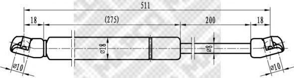 91700 Упругий элемент, крышка багажника / помещения для груза