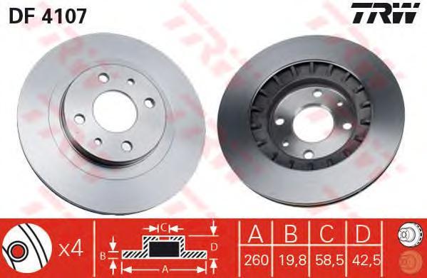 DF4107 Диск тормозной ВАЗ 2110-2112 R14 передний вентилируемый