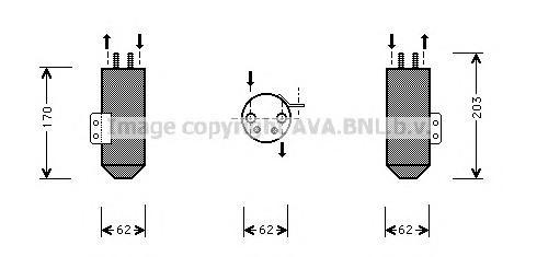 PED020 Осушитель кондиционера PEUGEOT: 206 CC (2D) 1.6 16V/1.6 HDI 110/2.0 S16 00-, 206 SW (2E/K) 1.1/1.4/1.4 16V/1.4 HDI/1.6 16