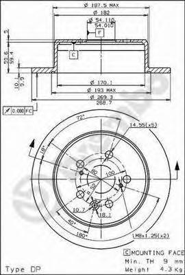 08562510 Диск тормозной TOYOTA CAMRY 86-91/CELICA 85-94 задний D=269мм.
