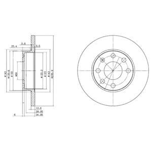BG2148 Диск тормозной OPEL ASTRA 91-02/CORSA 82-00/KADETT 79-92/VECTRA 88-95 передний