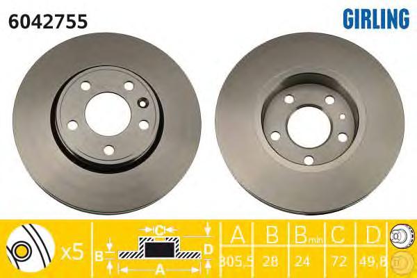 6042755 Диск тормозной NISSAN PRIMASTAR 01-/OPEL VIVARO 01-/RENAULT TRAFIC 01- передний