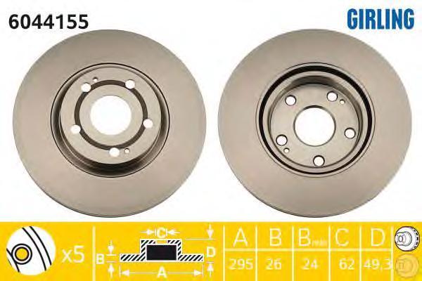 6044155 Диск тормозной TOYOTA AVENSIS 05-/COROLLA VERSO 04- передний вент.D=295мм.