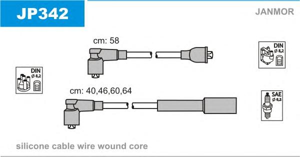 JP342 Комплект проводов зажигания KIA: SEPHIA 95-97, SEPHIA седан 93-97