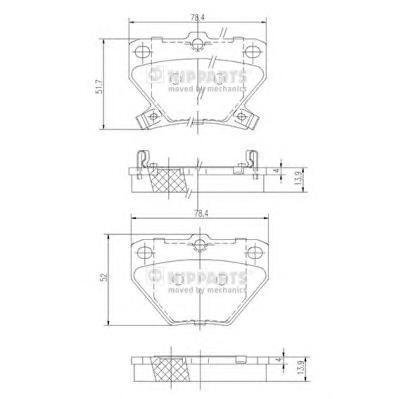 J3612018 Колодки тормозные TOYOTA CELICA 99-/COROLLA 00-/PRIUS 1.5 00-/YARIS 99- задние