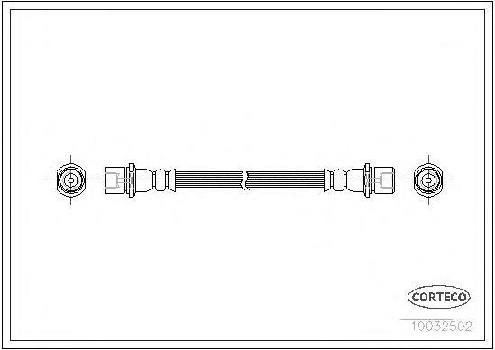 19032502 Шланг тормозной SUBARU: LEGACY III универсал 3.0 H6 AWD 98-03, OUTBACK 2.5/3.0 03-09