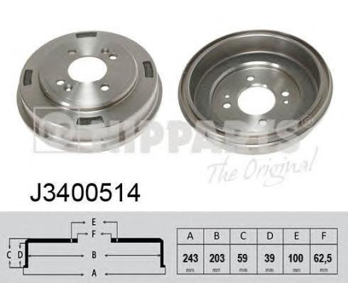 J3400514 Барабан тормозной HYUNDAI GETZ 02- с ABS