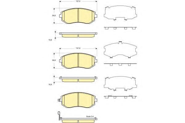 6133719 Колодки тормозные SUBARU FORESTER 01-/IMPREZA 01-/LEGACY 98- передние