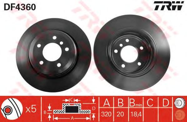 DF4360 Диск тормозной BMW 5 E60/61 520-530 03-10 задний D=320мм.