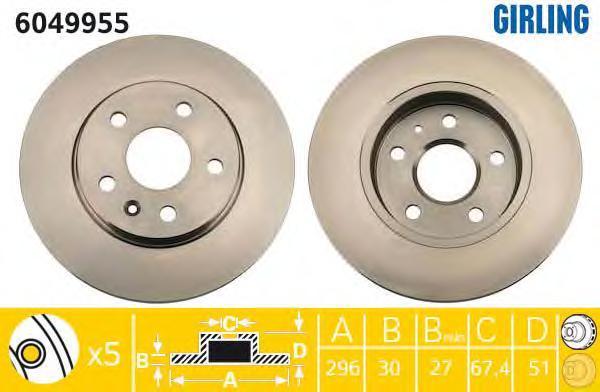 """6049955 Диск тормозной OPEL INSIGNIA 08-/SAAB 9-5 10- R16"""" передний D=296мм."""