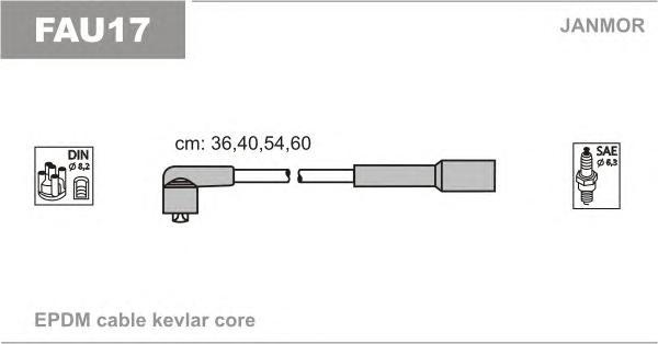 FAU17 Комплект проводов зажигания FIAT: CINQUECENTO 94-98, PALIO 98-, PALIO WEEKEND 96-01, PANDA 95-04, PANDA 03-, PUNTO 93-99,
